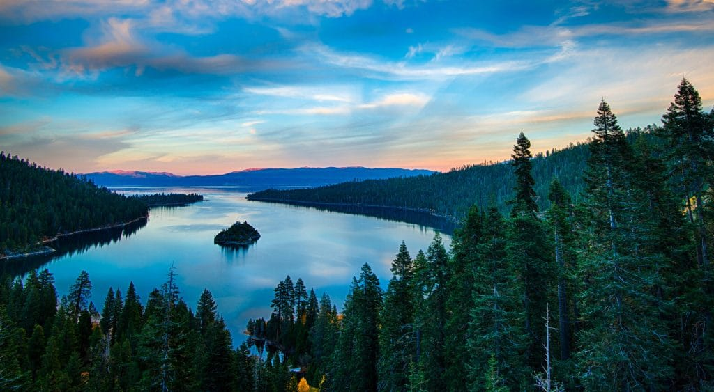 High angle view of a lake, Lake Tahoe, Sierra Nevada, California, USA